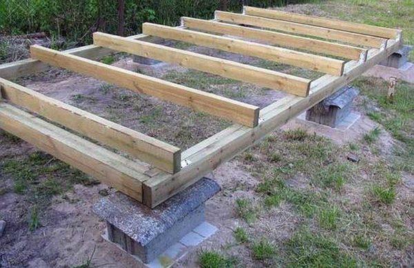 Сложенные на подготовленную подушку строительные блоки - простой вариант фундамента под бытовку