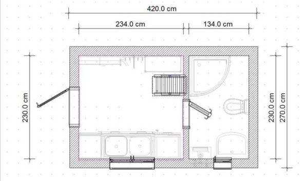 Минимальные размеры бытовки с душем и туалетом - 4*,5 м
