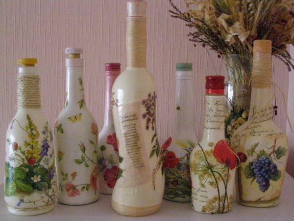 Декупаж бутылок - неплохой старт для начинающих