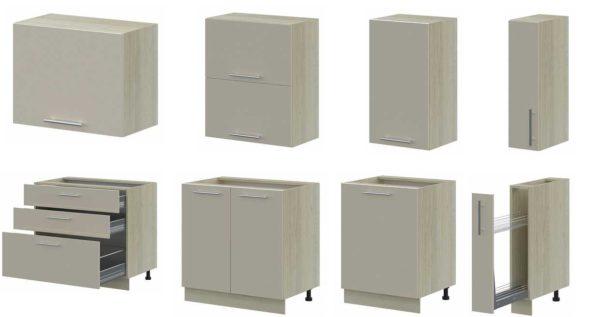 Больше всего вот таких вариантов - обычные напольные и настенные шкафчики