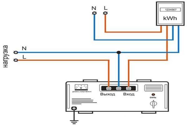 Схема подключения стабилизатора к однофазной цепи
