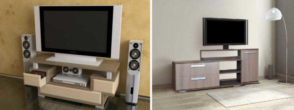Средние по высоте тумбочки для телевизора могут быть любого стиля