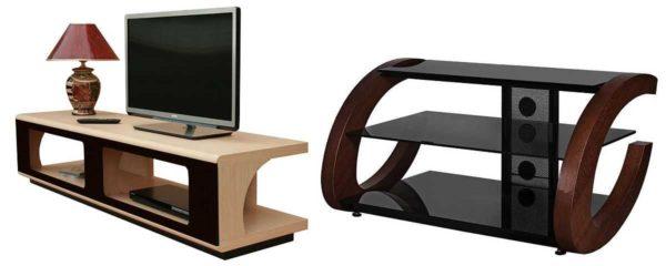 Телевизионные тумбы делают из традиционных материалов: древесины, ЛДСП, МДФ, стекла и пластика