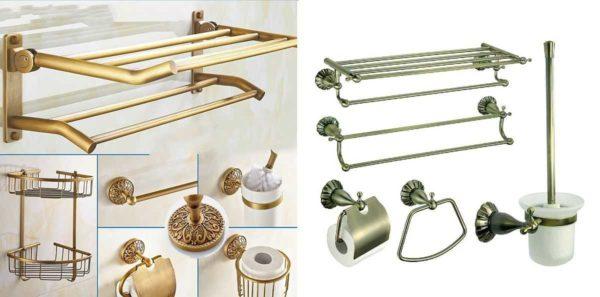 Аксессуары для ванной комнаты делают из разных материалов, но классикой считается металл