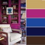 Для спокойных, но не скучных интерьеров: база - бежевый, дополнительные - синий и темная фуксия, акцентные - черный и темно-коричневый