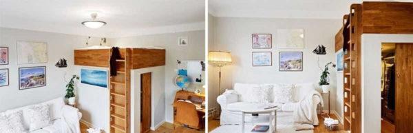 Вот такой вот необычный способ разделить гостиную и спальню