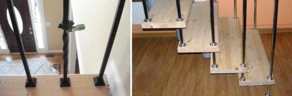 Крепление металлических балясин к ступеням несколько проще