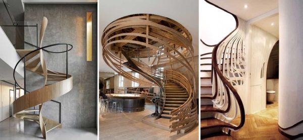 Деревянные перила для лестниц могут быть не только традиционного дизайна....