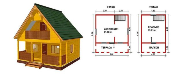 Дачный дом 6*6 с верандой и мансардой