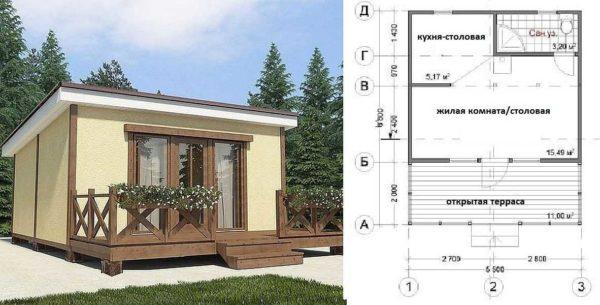 Проект дачного дома с санузлом и открытой террасой под односкатной крышей