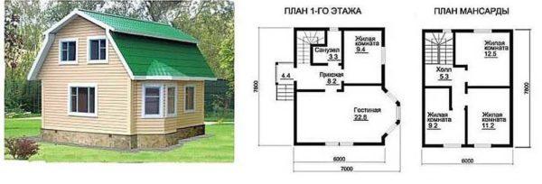 Проект дома для дачи 7*7 с мансардой под ломанной крышей и эркером