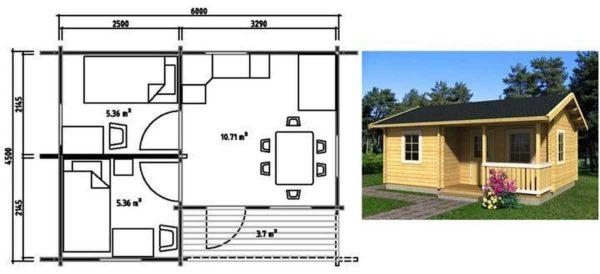 Небольшой дачный дом 6*4,5 с верандой