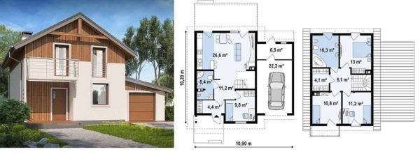 Проект двухэтажного дачного дома с пристроенным сбоку гаражом