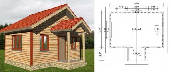План дачного дома 6*4