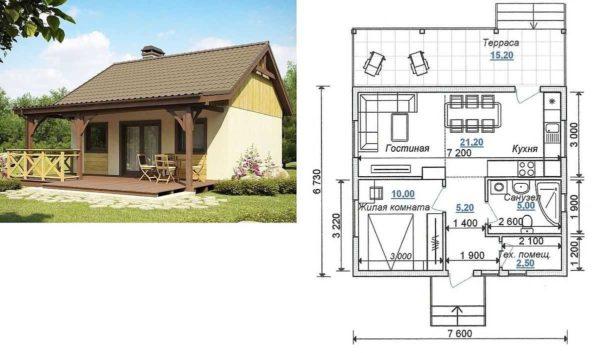 Одноэтажный дом 7*7,5 с пристроенной террасой