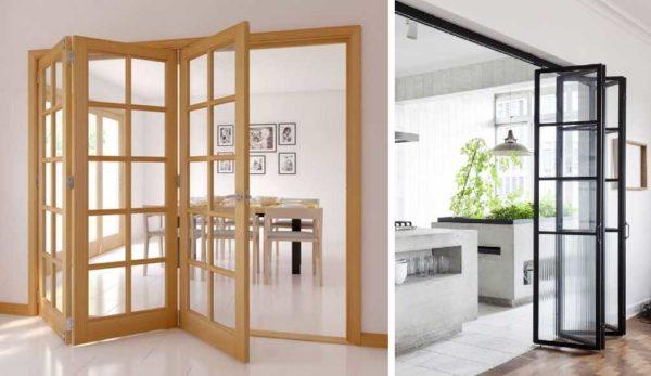 Складные стеклянные межкомнатные двери - редкое явление