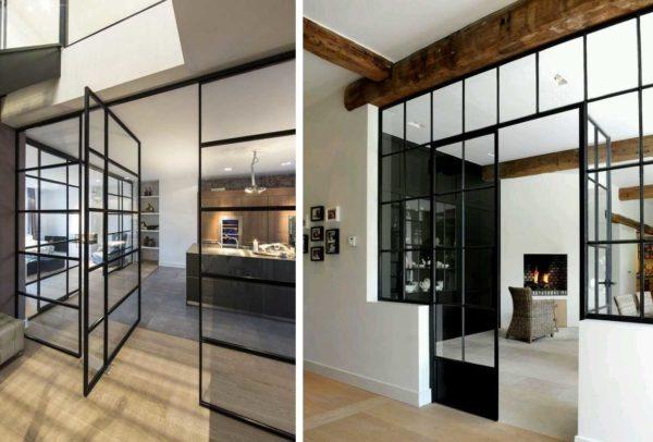 Тонкие черные импосты - этот стиль подходит для скандинавского направления, хорош в лофте, модерне и современных интерьерах