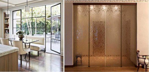 Распашные или маятниковые двери в перегородках из стекла