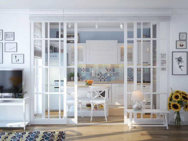 Такой вид имеют французские стеклянные перегородки в квартире в классическом исполнении