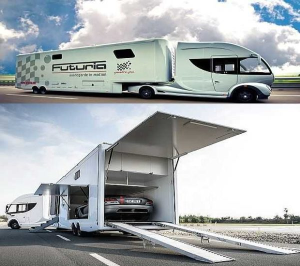 Это тоже дом на колесах в прицепе ... Futuria с бассейном, гаражом для спортивного автомобиля, гостиной и спальней