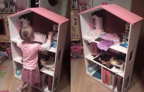 Домик для кукол должен быть чуть выше вашего ребенка