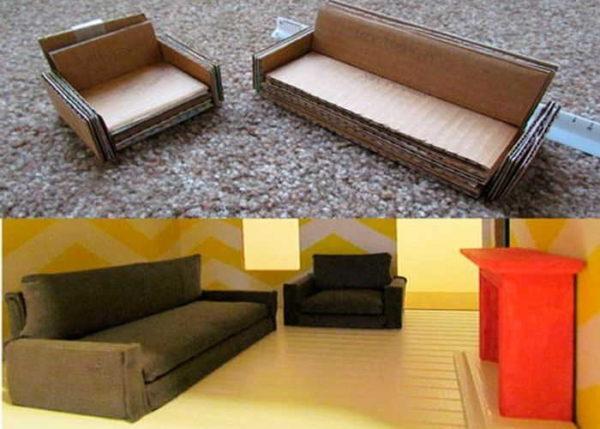 Без отделки кукольная мебель из картона смотрится не очень хорошо