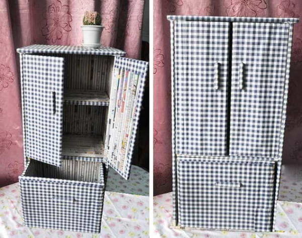 Готовый шкаф для кукол из газет