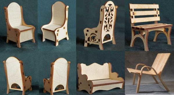 Несколько моделей фанерных кукольных стульев