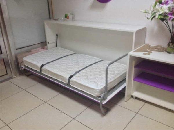 Откидная кровать в виде тумбы - горизонтальный механизм подъема