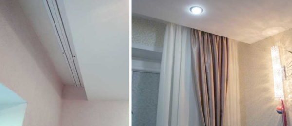 Для натяжных потолков обычно используют струнные карнизы для штор, Ккоторые монтируют к перекрытию