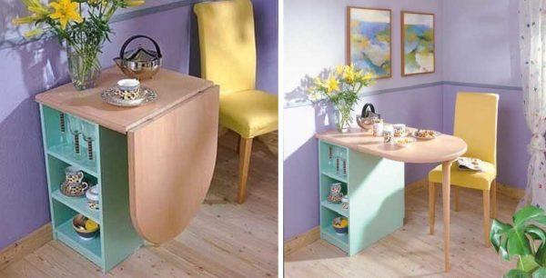 Откидной стол для маленькой кухни, прикрепленный к шкафчику