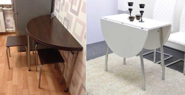 Складные круглые обеденные столы для маленькой кухни существуют