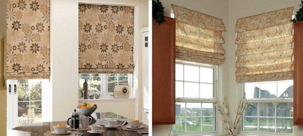Римские шторы бывают двух видов: классические (слева) и каскадные (справа). Отличаются наличием/отсутствием складок в открытом состоянии