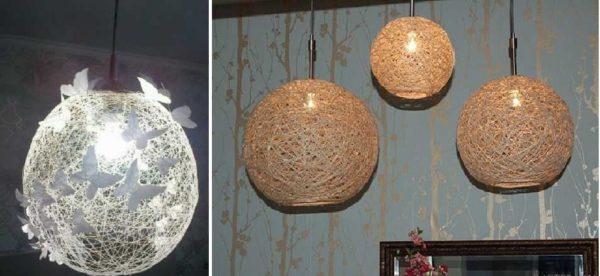 В зависимости от ниток, получаем разные по стилистике абажуры для подвесных светильников