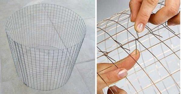 Цилиндрический каркас для абажура из проволочной сетки