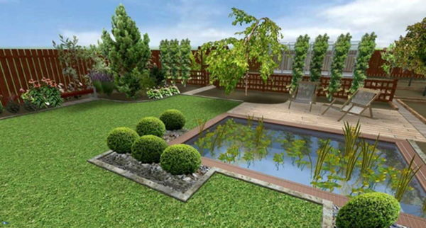 Планировка двора с бассейном