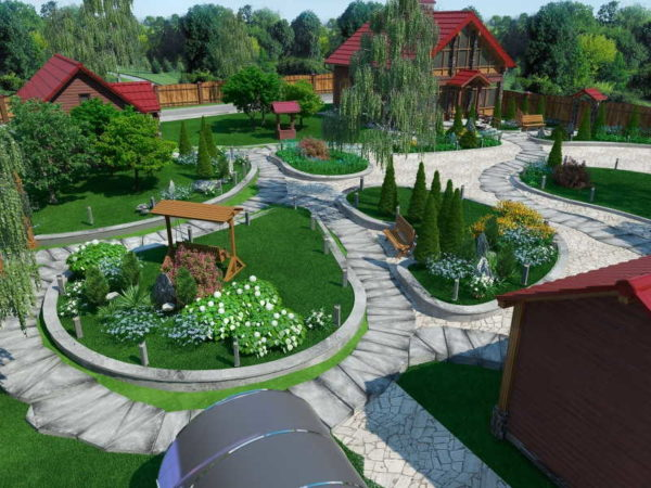 Этот дизайн двора дома сделан в программе: 3D вариант
