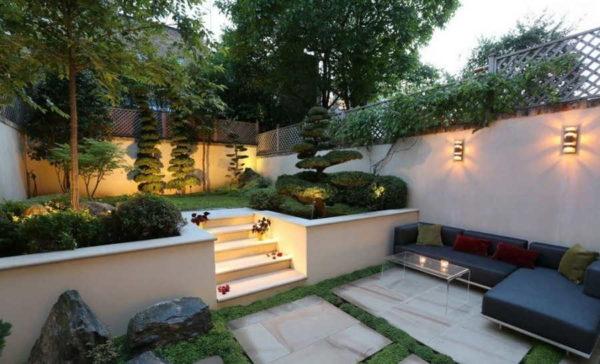 Дизайн двора частного дома в восточном стиле