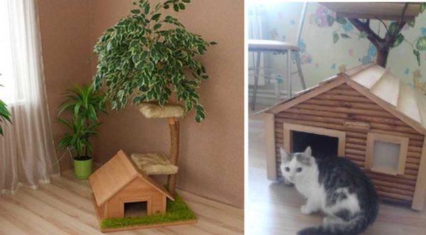 Для кошки с котятами, подойдет домик стоящий на полу