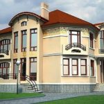Проект двухэтажного дома из желтого кирпича, стиль модерн