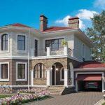 Этот проект дома в европейском стиле отличается по материалу: первый этаж кирпич без отделки, второй этаж - отделка доской или сайдингом