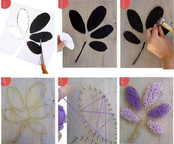 Изготовление картины из гвоздей и ниток: пошаговые фото