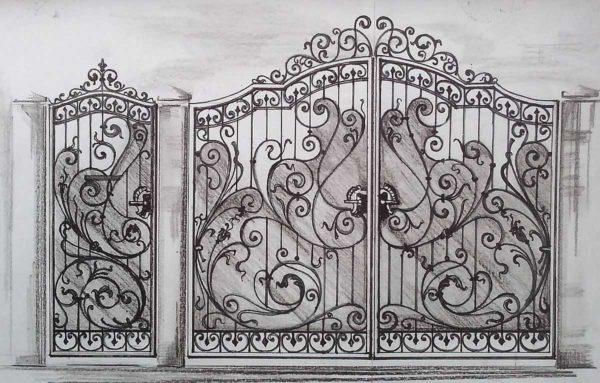 Проект ворот ковано-поликарбонатных
