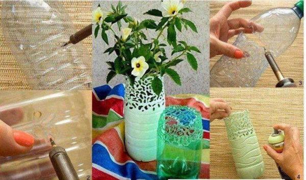 Красивая ваза из пластиковой бутылки