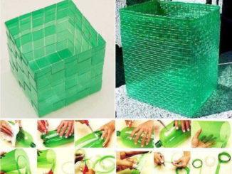 Корзины для белья из полосок: плетение из пластиковых бутылок