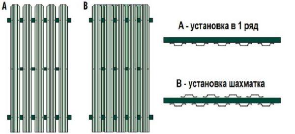 Способы монтажа металлического штакетника: в один и два ряда