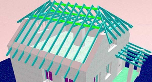 Один из вариантов стропильной системы полувальмовой крыши