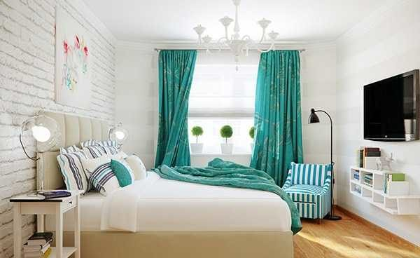 Имитация кирпича в спальне - смотрится очень даже стильно