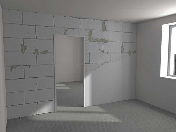 Стена из пазогребневых блоков должна быть строго вертикальной