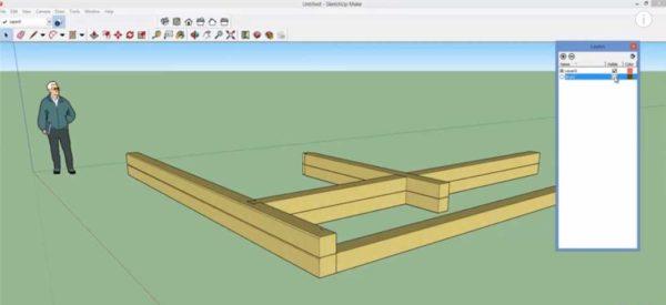 В программе ScratchUp тоже можно смоделировать деревянный или брусовой дом, но все надо делать вручную